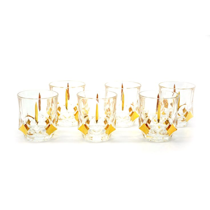 10-Ounce Goldtone Detailed Liquor Glasses (Set of 6) | Overstock.com Shopping - The Best Deals on Tumblers