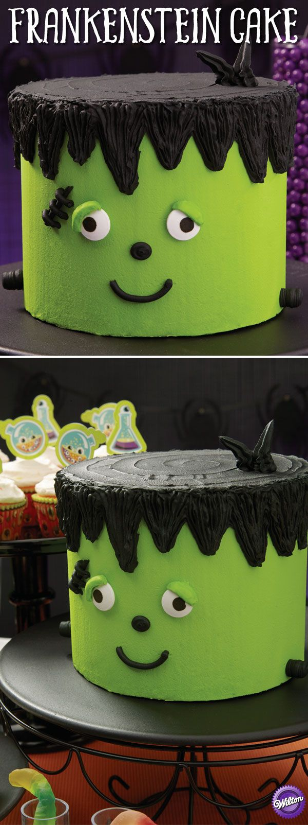 This easy buttercream cake makes a big statement, a fantastic centerpiece for your sweets table and will make others green with envy over your decorating skills. The Color Right Performance Color System makes it easy to mix the precise shade of Frankenstein green.
