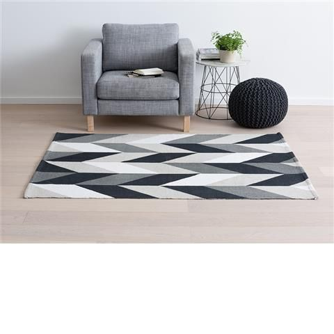 Monochrome Hand-Printed Rug. For the 2nd lounge room