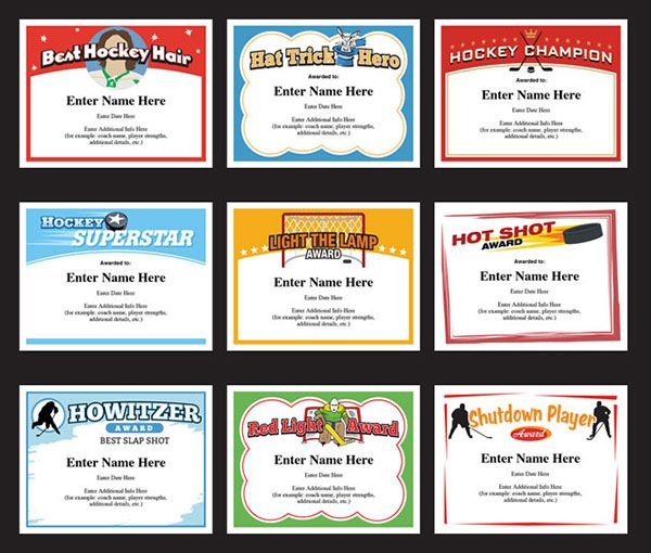 77 best award certificates templates images on pinterest award you and your team will have a blast with these hockey certificates templates cool designs yadclub Choice Image