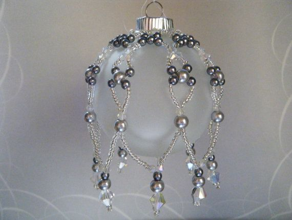 Christmas Ornament / Beaded Ornament Cover / Clear Crystal Silver Seed Bead Silver Pearls Ornaments via Etsy