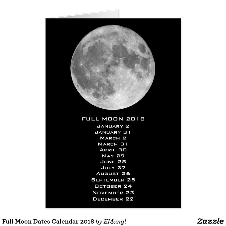Full Moon Dates Calendar 2018 Card