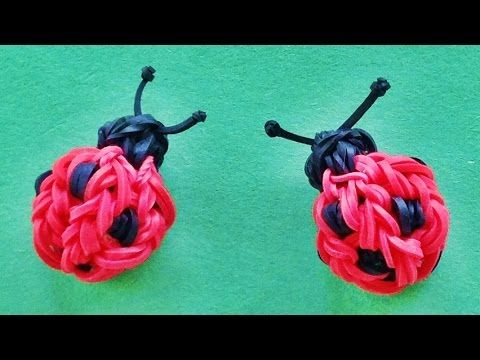 Rainbow Loom 3D Ladybug Charm : How to make with loom bands (Monster Tai...