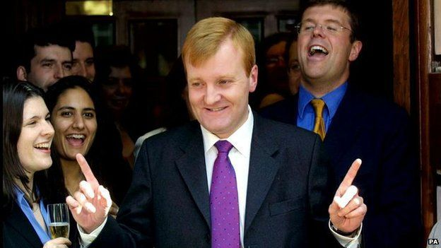 Charles Kennedy in 2001 celebrating the best general election result for any third party at the time since 1923