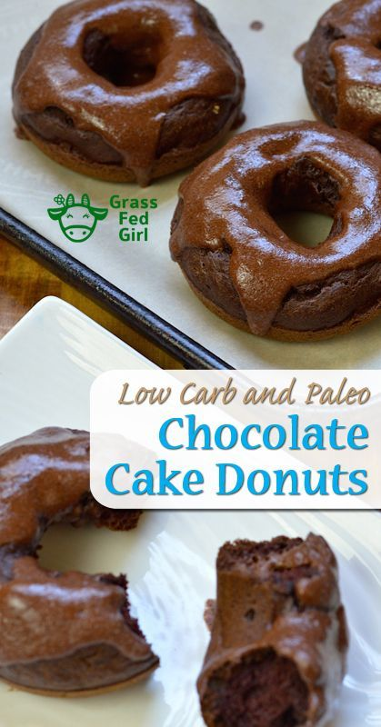 Double Chocolate Baked Donut Recipe (paleo, low carb and gluten free) | https://www.grassfedgirl.com/chocolate-baked-donut-recipe/