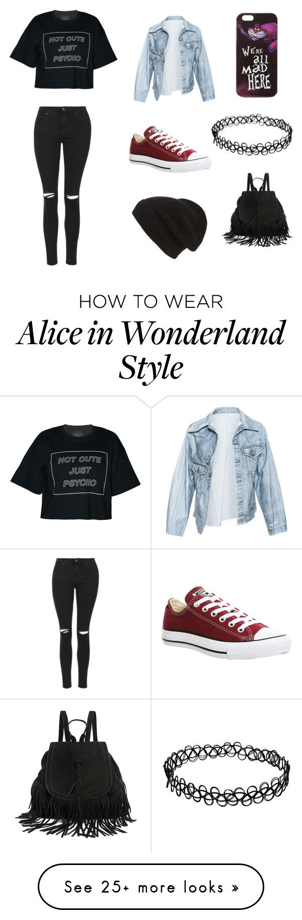 """""""We're all mad here...."""" by yourregularnirvanafan on Polyvore featuring Faustine Steinmetz, Topshop, Converse, Phase 3 and Disney"""