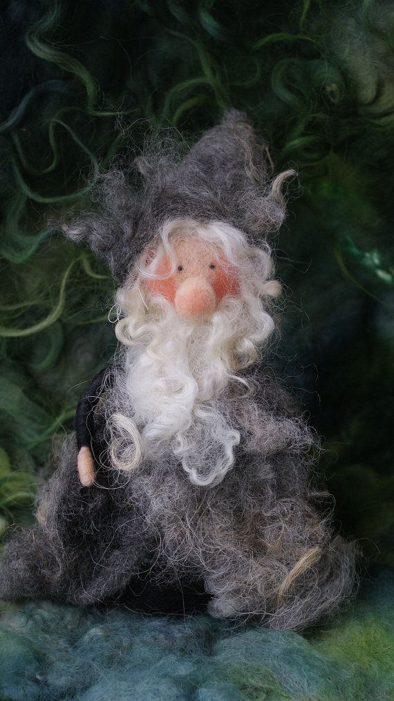 felted Gnome , 9 inches tall Materials: sheeps wool, shetland sheeps wool, Lincoln Long wool, wire by FairyfeltbySiSo