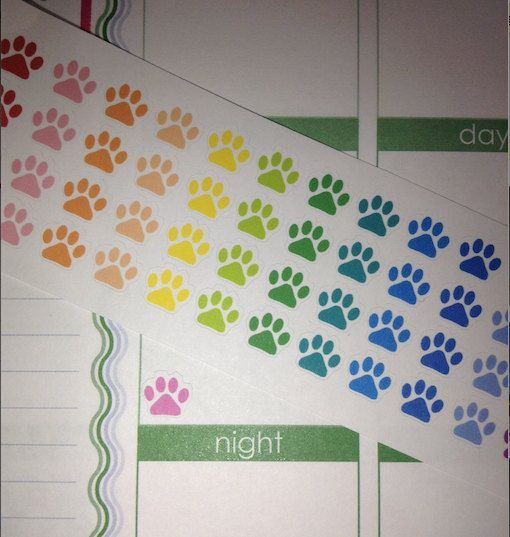 60 Small Paw Print Stickers Perfect for your by KarolinasKrafts, $4.25