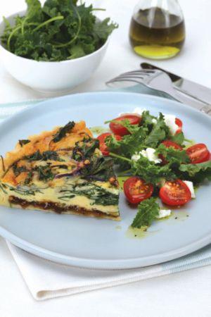 Spinach & Cavolo Nero Caramelised Onion Tart #Spinach #CavoloNero #CaramelisedOnionTart