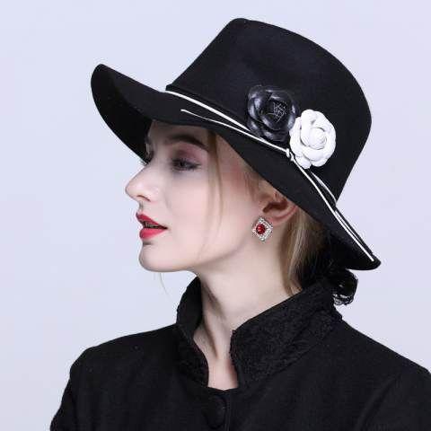 f42a078d051 Australia Wool Women s Winter Auturmn Floppy Brim Flower Camellia Fedora Hat  For Elegant laday Church Cap Panama Top Hat 20