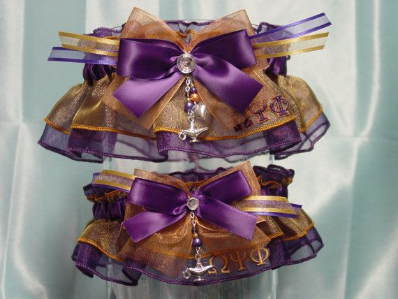 Omega Psi Phi Inspired Wedding Garter Set by GramminsTreasures