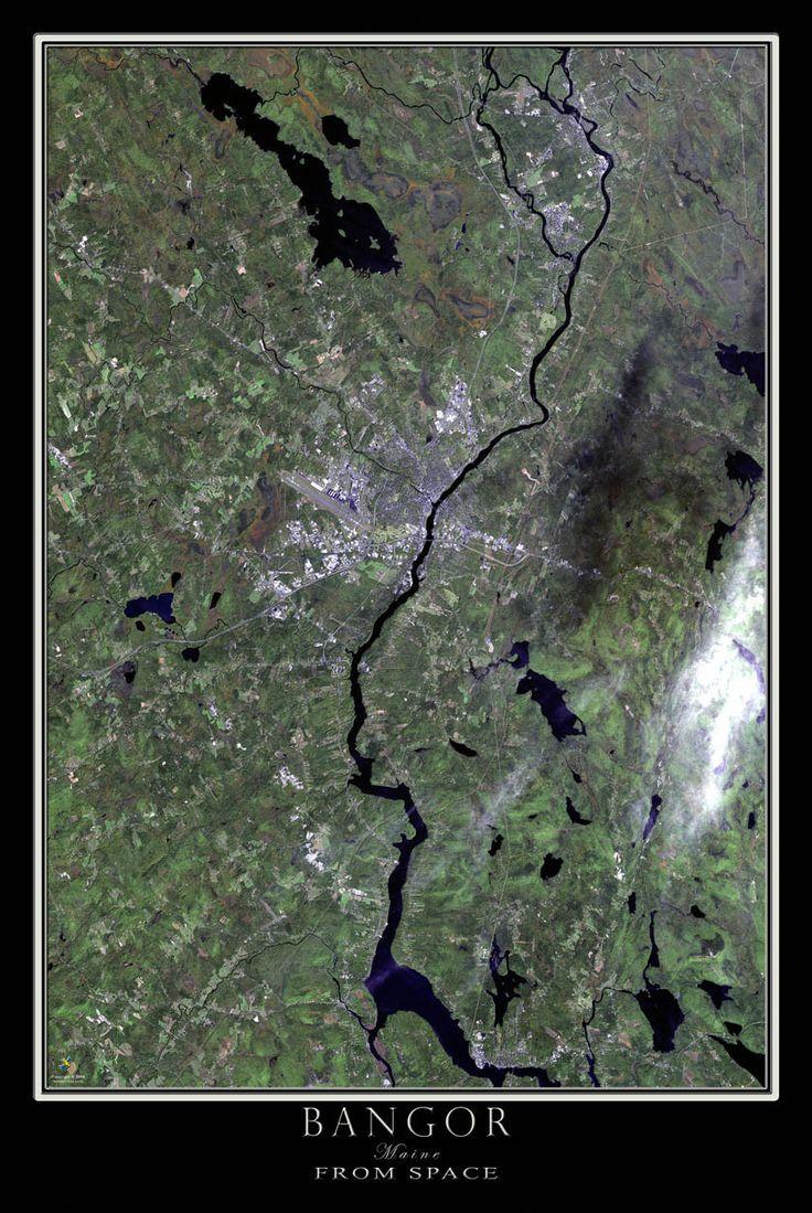 Bangor Maine Satellite Poster Map 119 best