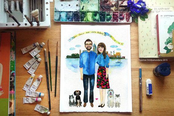custom portrait with the city , Custom Watercolor Portrait, Couple Illustration, Family Portrait, Custom Portrait illustration Couple Gift