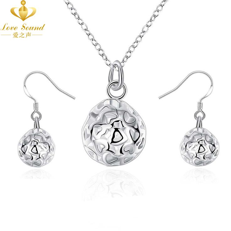 Cheap Fashion Beads Ball Bridal Jewelry Sets Silver Plated Pendant Necklace & Drop Earrings for Women Wedding Bride Jewelry