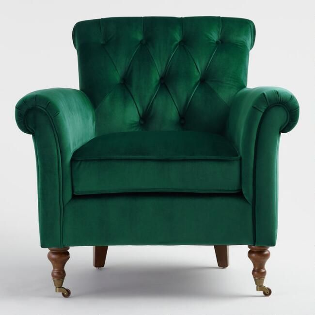 Three Words Dark Green Armchair But Seriously With The Two Gray Couches And One Green Chair Wi Green Armchair Green Chair Living Room Arm Chairs Living Room