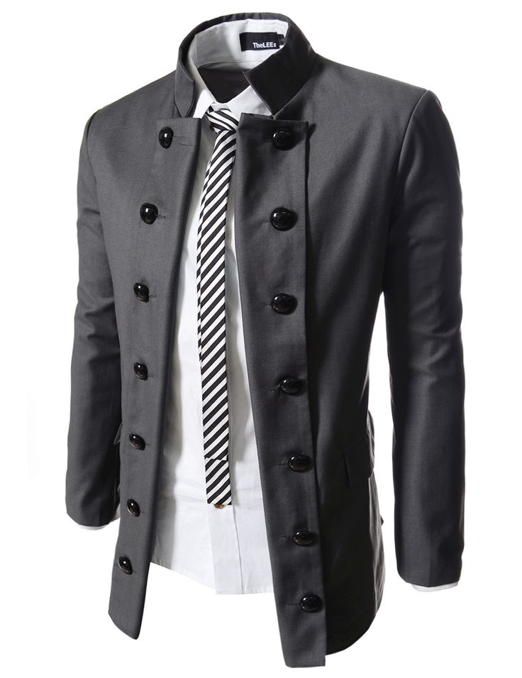 Mens Double Breasted 2 Way Slim Fit Jacket Blazer