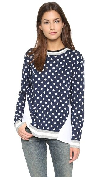 endless rose Polka Dot Combo Sweater