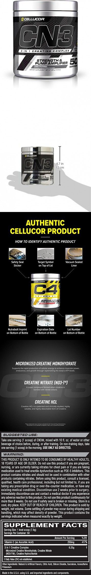 Cellucor, CN3, Creatine Nitrate Strength and Pump Amplifier, Unflavored, 50 Servings