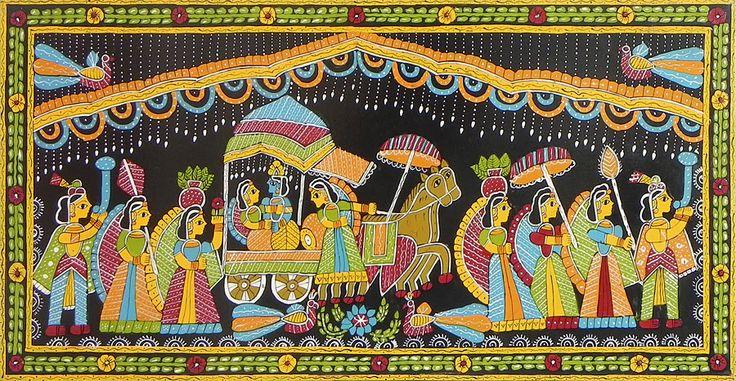 Radha Krishna in a Chariot with Gopinis - Wall Hanging (Madhubani Folk Art on Hardboard)
