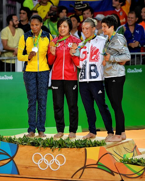 #RIO2016 Under 70kg medallists LR Silver Yuri Alvear of Colombia Gold Haruka Tachimoto of Japan Bronzes Sally Conway of Great Britain and Laura Vargas Koch of...