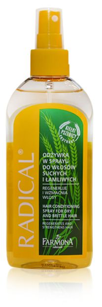 Farmona Radical Hair Conditioning  Spray. Extremely active hair conditioner, due to its concentrated, two-phase formula and specially selected active ingredients - natural wheat germ extract, horsetail, aloe, keratin and inutec |  Odżywka w sprayu do włosów suchych i łamliwych ♥ http://farmona.pl/produkty/pielegnacja-wlosow/radical-linia-do-wlosow-suchych-i-lamliwych/odzywka-w-sprayu-do-wlosow-suchych-i-lamliwych/