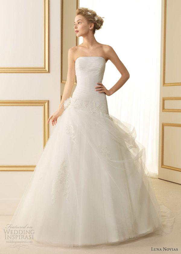 luna novias bridal 2013 termal strapless gown gathered skirt