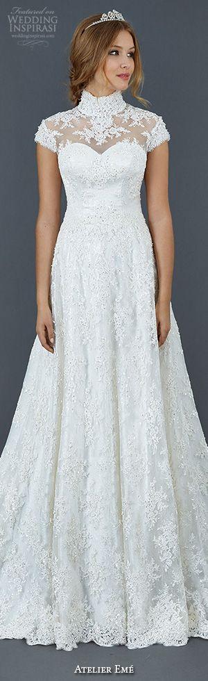 atelier eme aimee 2016 lace cap sleeve gorgeous a-line wedding dress high neckline illusion style fyred007 #weddingdresses #2016weddingdresses