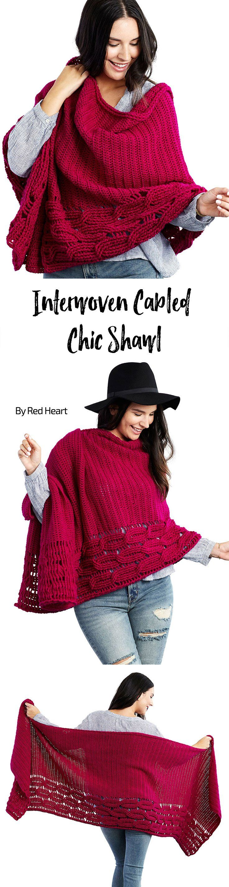 Interwoven Cabled Shawl free crochet pattern in Chic Sheep Merino Wool yarn.