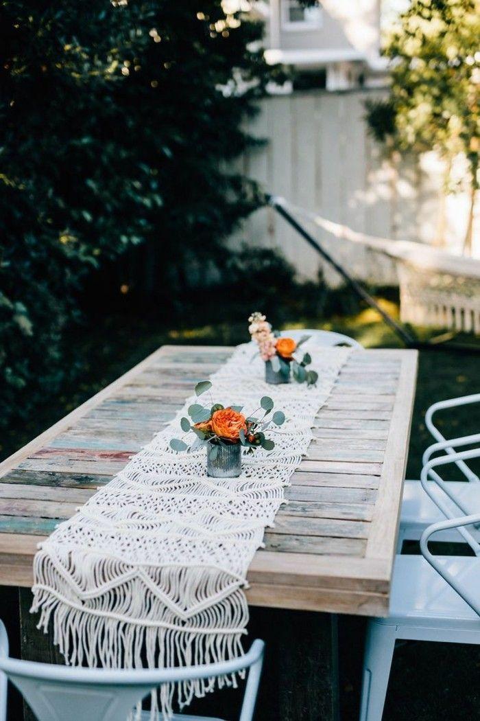 Garten Gestalten Ideen Gartentisch Aus Holz Mit Tischdecke