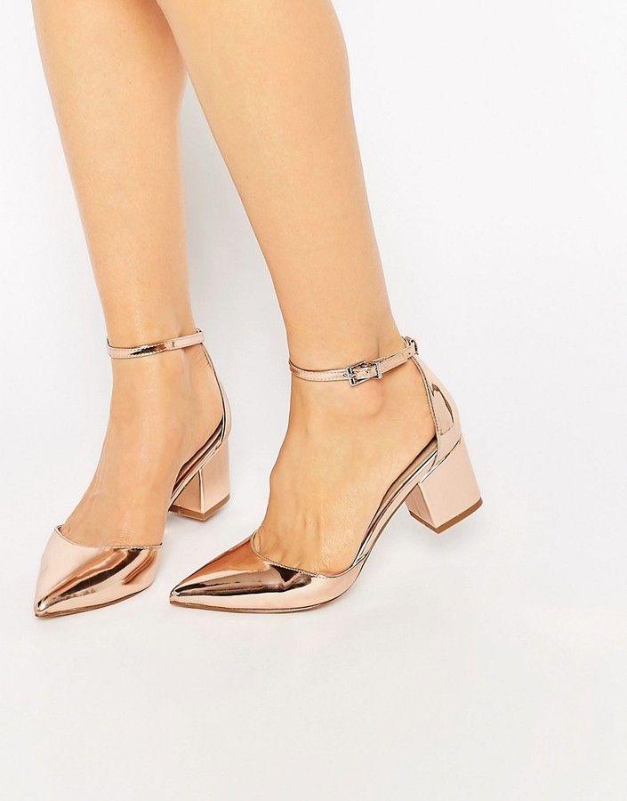ASOS gold metallic pointed block heels | ankle strap | $62