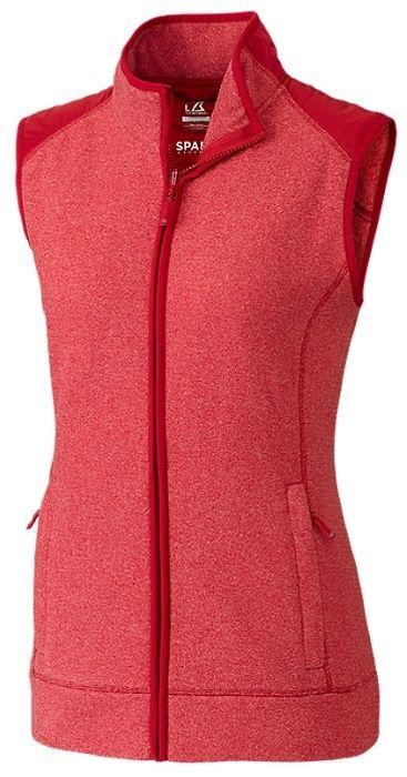 Red Cutter & Buck Ladies & Plus Size Cedar Park Full Zip Golf Vest. Stylish ladies golf outerwear @ #lorisgolfshoppe