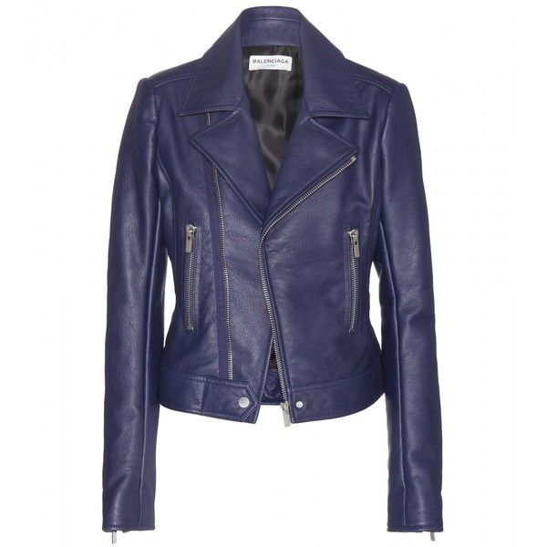 Balenciaga Leather Biker Jacket (£1,580) ❤ liked on Polyvore featuring outerwear, jackets, casacos, balenciaga, blue, motorcycle jacket, balenciaga jacket, leather moto jacket, genuine leather jacket and blue leather jacket