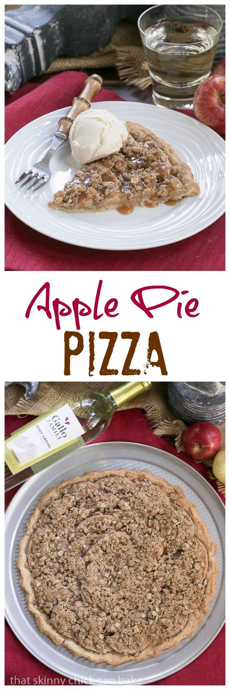 Apple Pie Pizza   A dessert pizza made with a pastry crust, spiced apples, streusel and drizzled with caramel @lizzydo