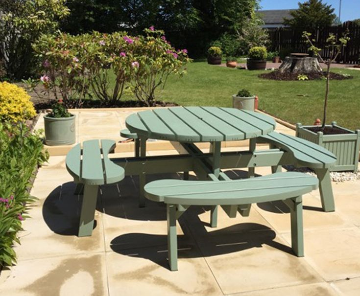 Circular Picnic Table suitable for up to eight people. Made from robust wax impregnated pressure treated timber. This product is made to last.