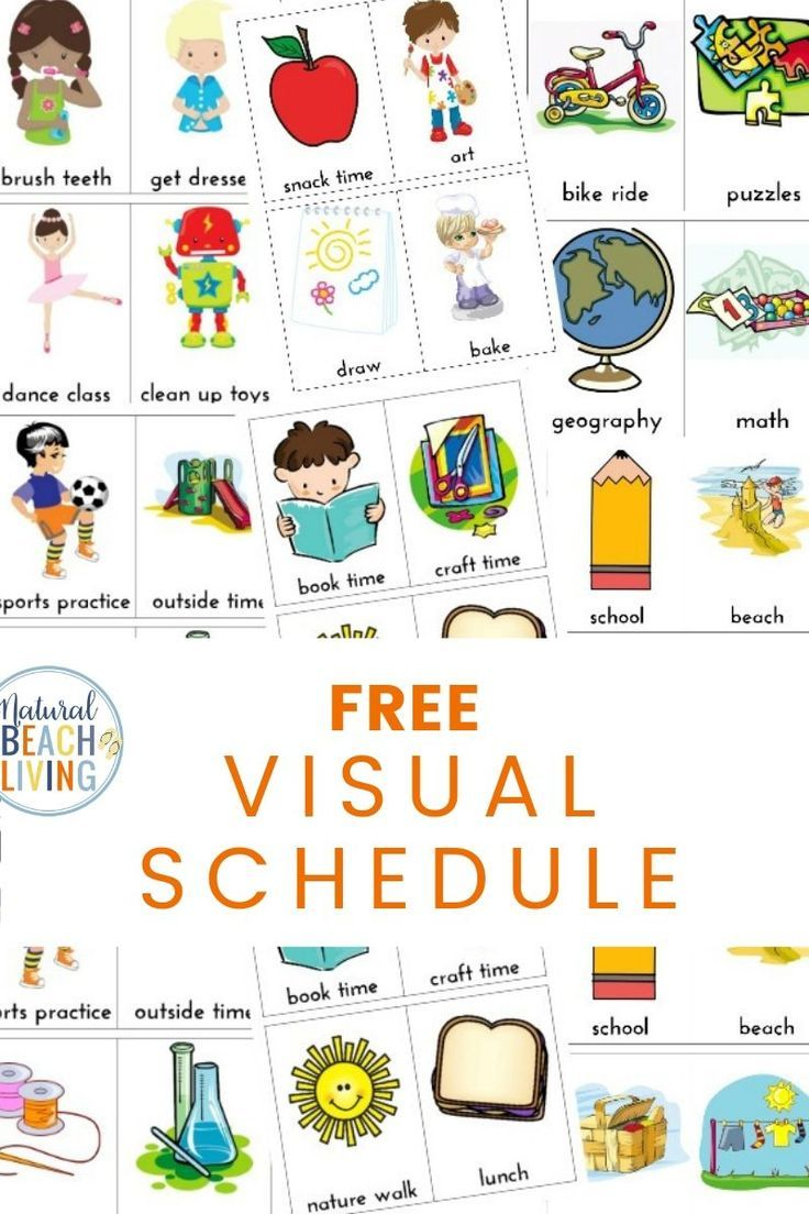 Daily Visual Schedule For Kids Free Printable Natural Beach Living Daily Schedule Kids Kids Schedule Visual Schedule