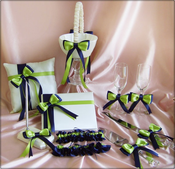 Navy Blue and Green Wedding Flower Girl Basket Ring by All4Brides, $180.00