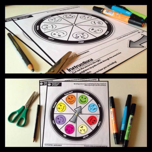 Feelings Wheel activity - have child color the feelings faces and then move to arrow to how they feel at the start of each session