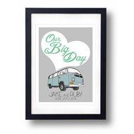VW Camper Van Personalised Wedding Gift  A3 Print