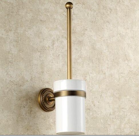 BECOLA Ванной Комнаты Все меди антикварная щетка для унитаза Туалет чашка стекла. сельских туалет обладатель кубка керамические туалет чашка GZ-9008