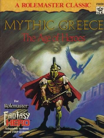 Product Line: Rolemaster  Product Edition: RM2  Product Name: Mythic Greece  Product Type: Genre Book  Author: ICE  Stock #: 1020  ISBN: 1-55806-002-2  Publisher: ICE  Cover Price: $16.00  Page Count: 160  Format: Softcover  Release Date: 1988  Language: English