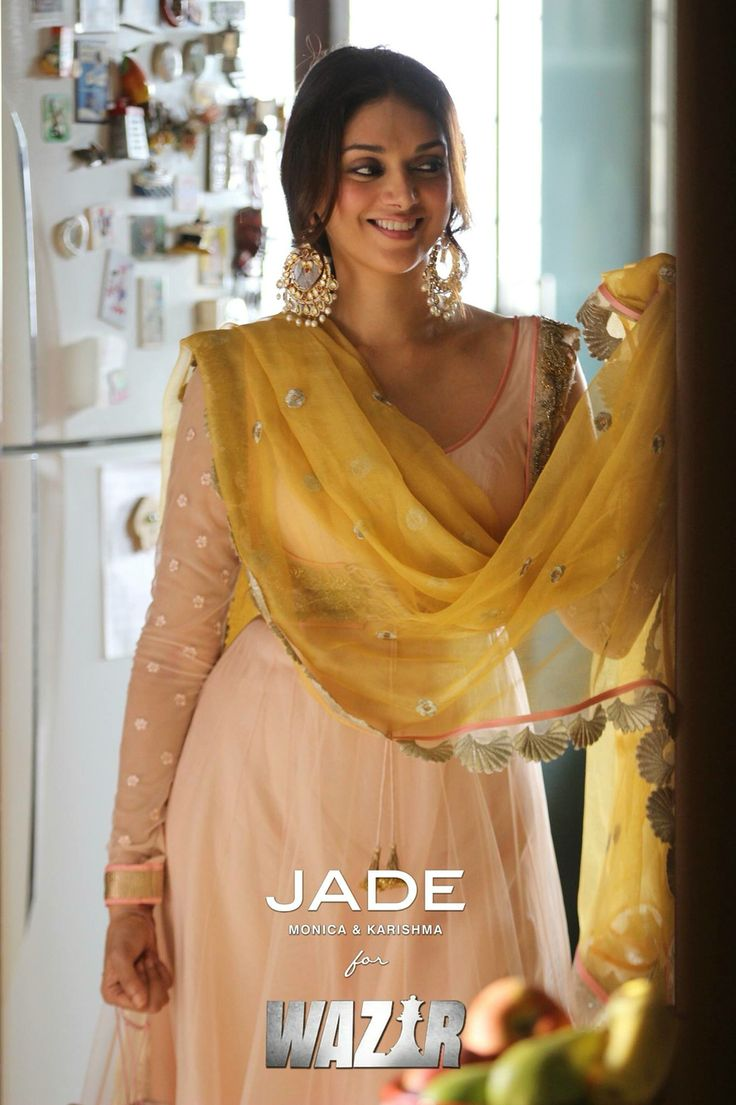Blush pink anarkali created by JADE to compliment Ruhana's demure and graceful demeanour in Wazir