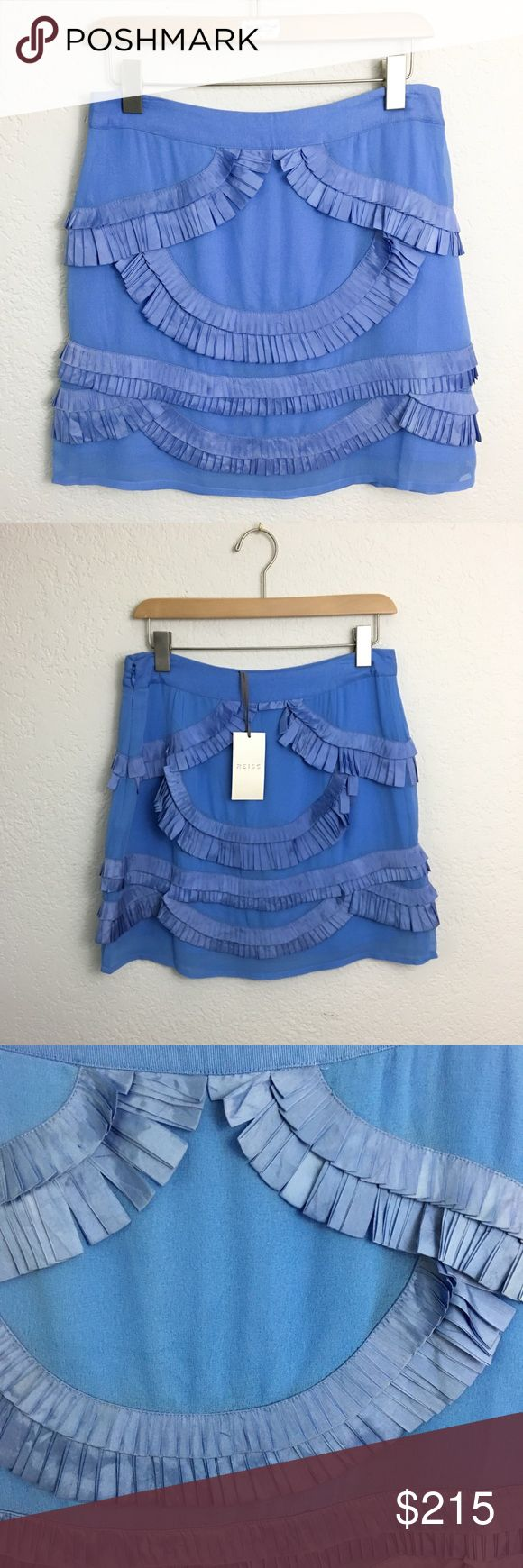 Reiss Silk Ribbon Fringe French Blue Skirt Adorable Ribbon design in French blue. Gorgeous detailing. Beautifully made. Silk. Side zip. Brand new with tags. ***Jewelry and Accessories by Stella & Dot- See Bio.*** 👗Fab Ab's Closet; Re-Styled Resale 👗 🎀15% OFF 3+ ITEM BUNDLES🎀 👉🏻PLEASE USE OFFER BUTTON👈🏻 ❌NO PP, TRADES, HOLDS❌  🛍ITEMS ALWAYS 100% AUTHENTIC🛍 👑POSH AMBASSADOR 👑 Reiss Skirts