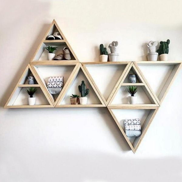 Simple Nordic Style Triangle Frame Wooden Wall Hanging Rack Diy Assembly Commodity Display Shelf Home In 2020 Wall Shelf Decor Wooden Wall Hangings Wooden Wall Shelves
