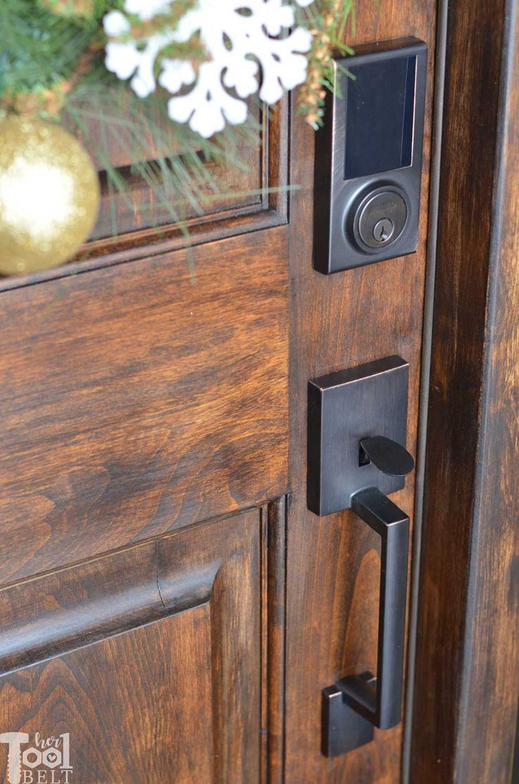 Front Door Refresh And Smart Lock Install Her Tool Belt Exterior Door Hardware Front Door Hardware Entry Door Handles
