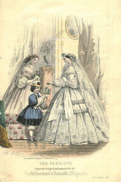 Victorian fashion plate of wedding dress 1861