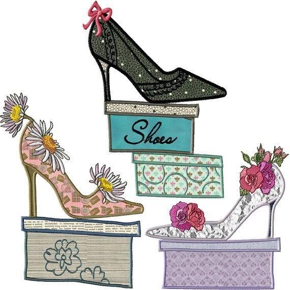 Io amore scarpe Applique macchina ricamo disegni di AEonEtsy