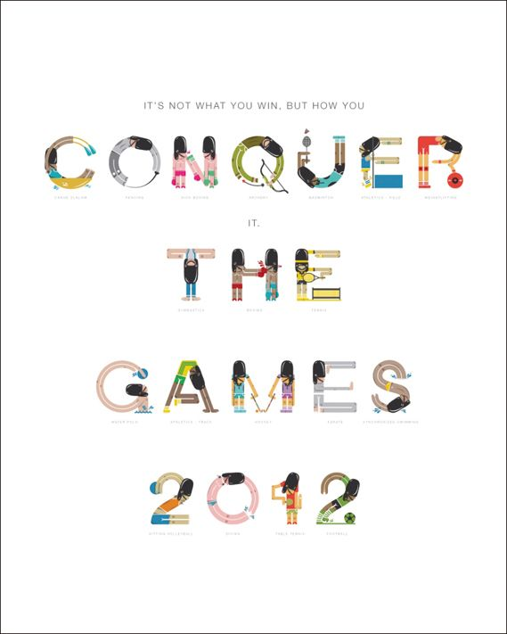Conquer the Games 2012 Olympics poster #typography
