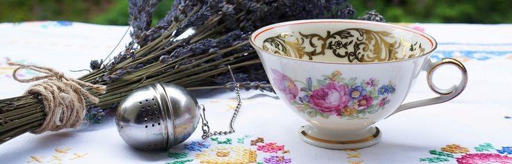 винтаж чашка ситечко для чая лаванда