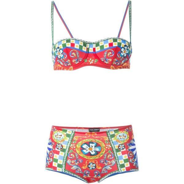 Dolce & Gabbana Carretto Siciliano printed bikini ($685) ❤ liked on Polyvore featuring swimwear, bikinis, red, multicolor bikini, boy short bikini, boyshort swimwear, balcony bra and balconette bra