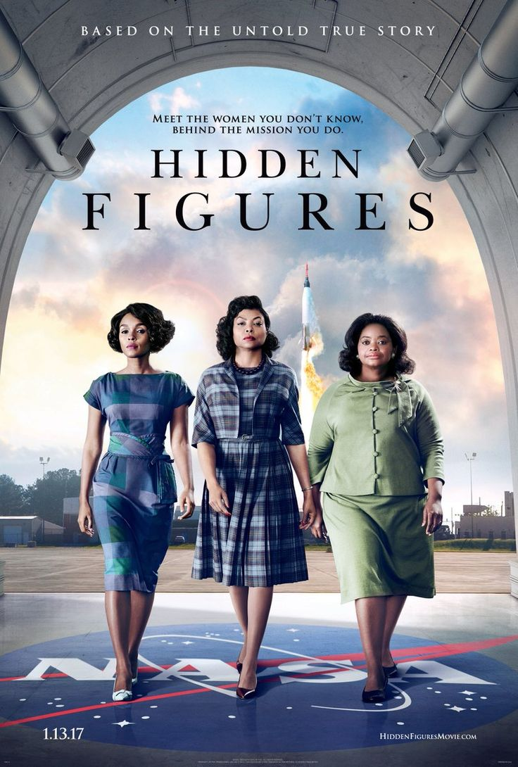 """HIDDEN FIGURES movie poster (8/2016) """"In Theaters January 13, 2017.  The incredible untold story of Katherine Johnson (Taraji P. Henson), Dorothy Vaughn (Octavia Spencer) and Mary Jackson (Janelle Monáe)—brilliant African-American women working at NASA, who served as the brains behind one of the greatest operations in history: the launch of astronaut John Glenn into orbit, a stunning achievement that restored the nation's confidence, turned around the Space Race, and galvanized the world."""""""